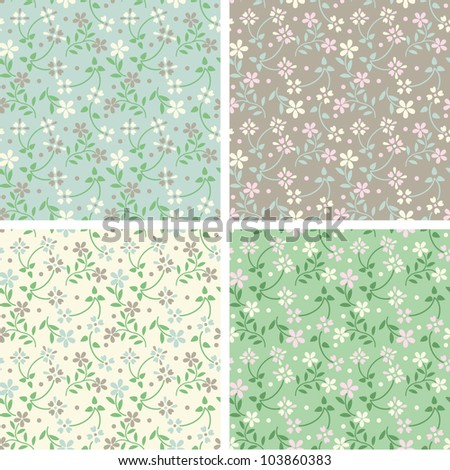 Set of seamless pattern with spring cute flowers