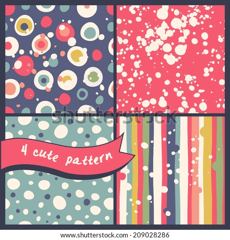 Set of 4 seamless patterns. Abstract bright polka dot patterns, with small splashes and drops.