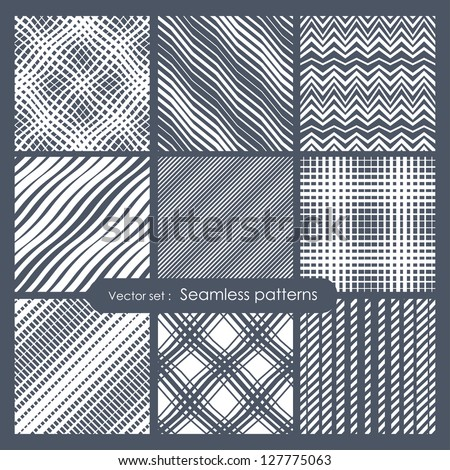 Set of seamless patterns. Diagonal dots, stripes, zigzag and checkered. Vector repeating texture, Geometric endless mesh - s