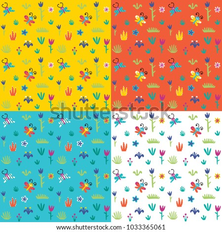 Set of seamless patterns in a childish style on colorful  backgrounds.