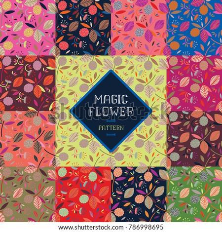 set of seamless patterns magic
