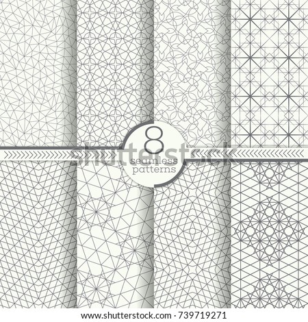 Set of seamless patterns. Modern stylish textures.  Abstract geometrical background. Original linear texture with repeating thin broken lines, polygons, difficult polygonal shapes