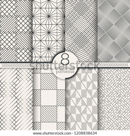 Set of seamless patterns. Modern stylish textures. Regularly repeating geometrical ornaments with thin lines, linear checkered shapes, rhombuses, diamonds. Vector element of graphical design