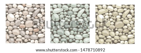 Set of seamless patterns. Texture with stones, cobble, rocks to create landscape scenes background, for game asset or cartoon. Vector illustration