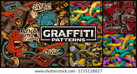 Set of seamless patterns with graffiti art. Fashion backgrounds with doodle characters.