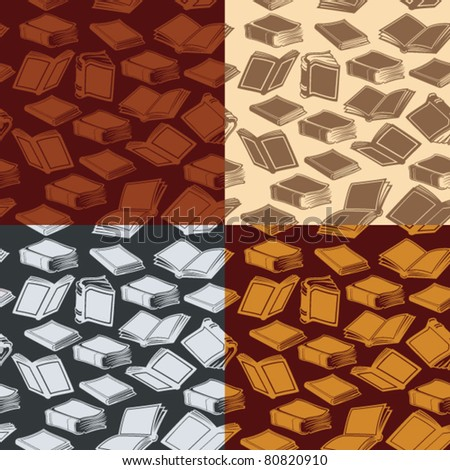 Set of seamless patterns with old books in four different color combinations.