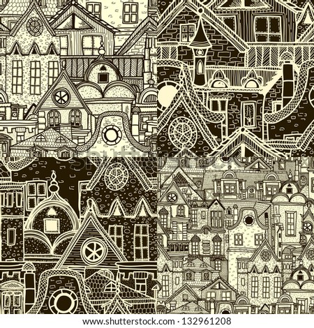 Set of seamless patterns with old town - stock vector