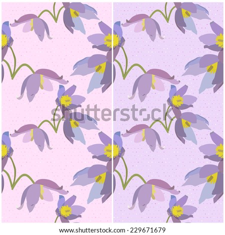 Set of seamless patterns with primroses on a pink and violet backgrounds. Vector eps 10.