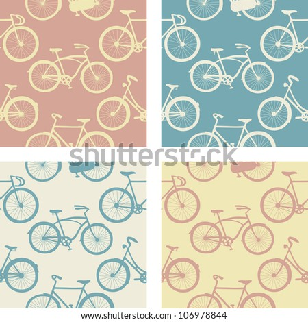 Set of seamless patterns with vintage bicycles