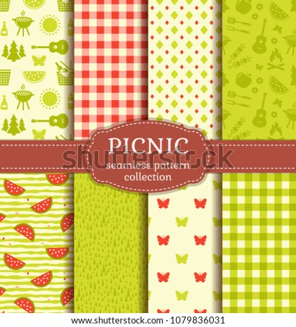 set of seamless picnic patterns