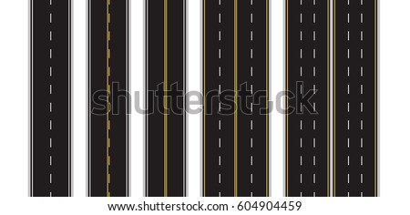 Set of Seamless Road Marking on a White Isolated Background. Top View. Straight Highway Infographic Templates. Vector EPS 10