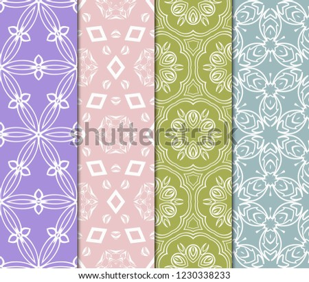 Set Of Seamless Texture Of Floral Ornament. Vector Illustration. For The Interior Design, Printing, Web And Textile. #1230338233