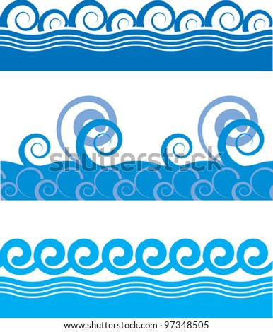 set of seamless texture of sea waves