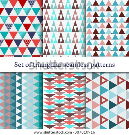 Set of seamless triangle pattern. Colorful abstract texture. Geometric hipster retro background EPS 10