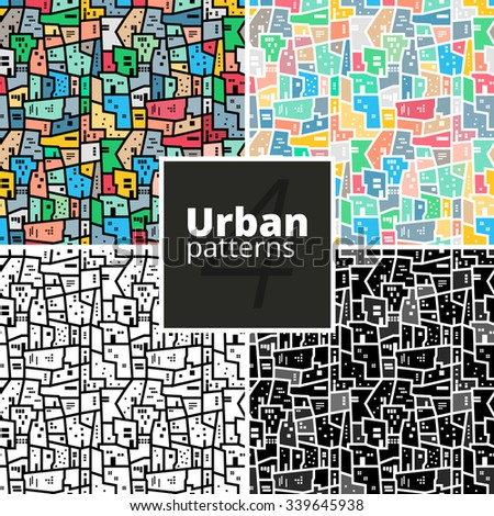 Set of seamless urban patterns. Pack of vector modern geometric texture for web or print.