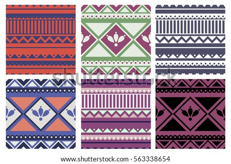 Set of seamless vector geometric colorful patterns with ornamental elements,endless background with ethnic motifs. Graphic illustration. Series- sets of vector seamless patterns