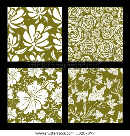 "Set of seamless vintage floral pattern (from my big ""Seamless pattern collection"")"