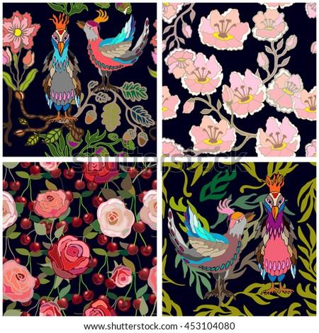set of seamless vintage kimono