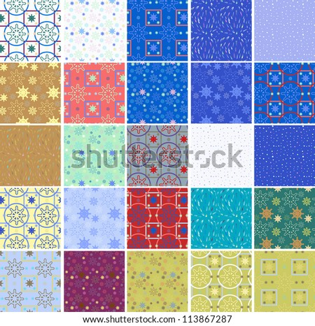 set of seamless winter patterns