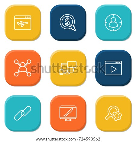 set of 9 search outline icons