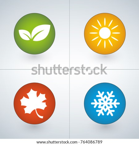 Set of season icons in green, yellow, red and blue colors. set of four. Isolated vector illustration
