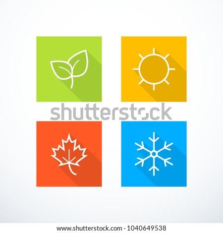 Set of season icons. Vector illustration
