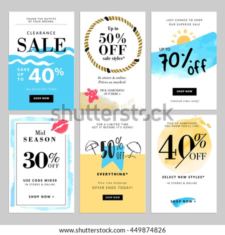 Set of season sale banner templates. Vector illustrations for website and mobile website banners, posters, email and newsletter designs, ads, coupons, promotional material.
