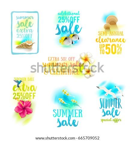 Set of season sale designs. Summer holidays and vacation vector illustration.