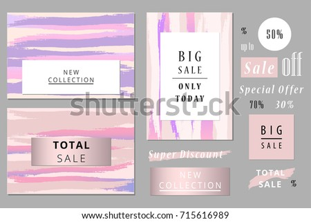 Set of Seasonal clearance templates. Sale or New collection headers. Artistic Design for social media, greeting cards, birthday, party invitation, anniversary, save the date, blog, birthday. Vector