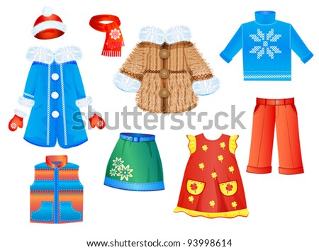 set of seasonal clothes for girls. Vector illustration.