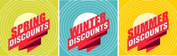 Set of seasonal discount tags or promo labels for discounts advertising in different colors