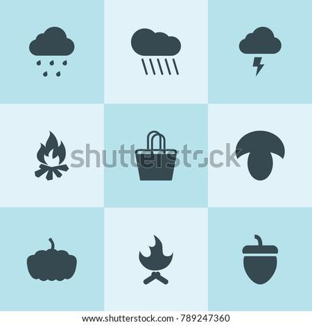 set of 9 seasonal filled icons