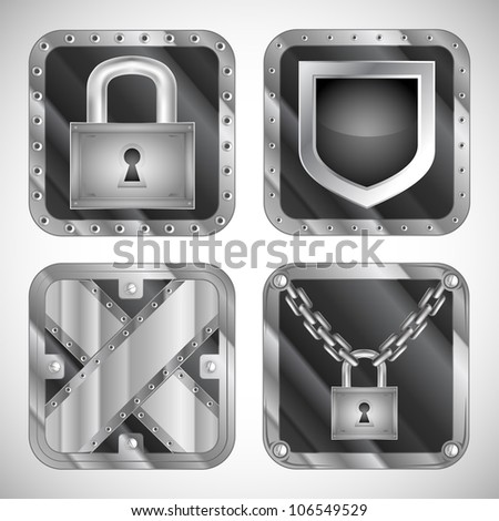 set of security app icons