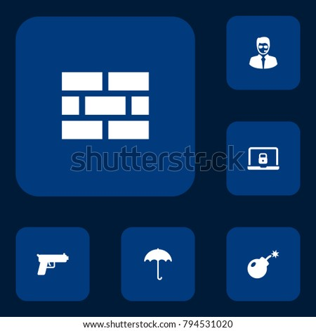 set of 6 security icons set