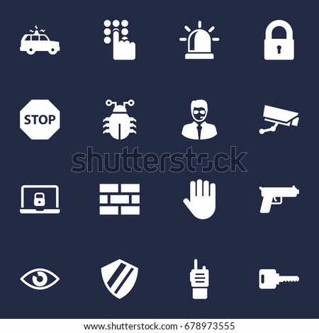 set of 16 security icons set