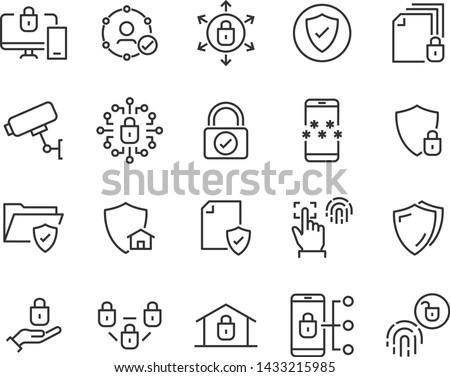 set of security line icons, such as protect, password, lock