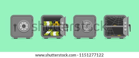 Set of security metal safes. flat style. isolated on green background