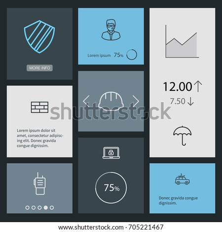 set of 8 security outline icons