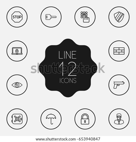 set of 12 security outline