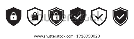 Set of security shield icons, security shields logotypes with check mark and padlock. Security shield symbols. Vector illustration. Stockfoto ©
