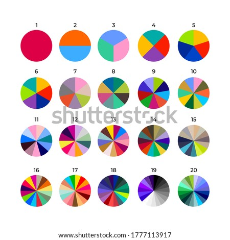 Set of segmented circles. Various number of sectors divide the circle on equal parts. Colored outline graphics. Vector illustration. Isolated on black background. ストックフォト ©