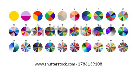 Set of segmented circles. Various number 0-30 of sectors divide the circle on equal parts. Colored outline graphics. Vector illustration. Isolated on black background. ストックフォト ©