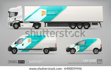set of semi truck  cargo van