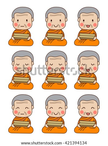 set of senior buddhist monk