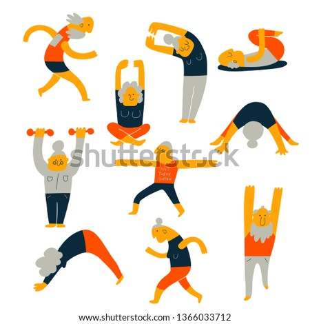 Set of senior people activity. Hand drawn illustration of elderly exercising, made in vector