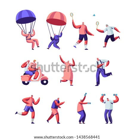 Set of Senior People Sport Activity and Healthy Lifestyle. Elderly People in Sports Wear Doing Exercises Open Air, Jogging, Skydiving, Playing Badminton Together. Cartoon Flat Vector Illustration