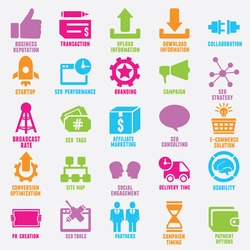 Set of seo and internet service icons - part 9 - vector icons