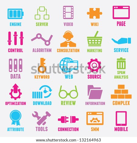 Set of seo and internet service icons - part 2 - vector icons - stock vector