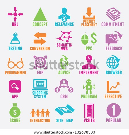 Set of seo and internet service icons - part 4 - vector icons