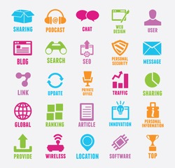 Set of seo and internet service icons - vector icons